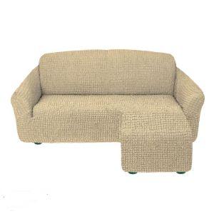 Чехол для углового дивана оттоманка без оборки левый,бежевый