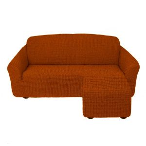 Чехол для углового дивана оттоманка без оборки левый,кирпичный