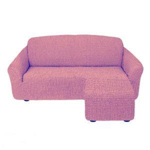 Чехол для углового дивана оттоманка без оборки правый,сухая роза