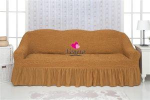 Чехол на 3х-местный диван с оборкой (1шт.)  ,Горчица