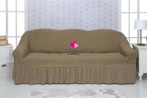 Чехол на 3х-местный диван с оборкой (1шт.)  ,темно-оливковый