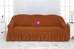 Чехол на 3х-местный диван с оборкой (1шт.)  ,темно-рыжий