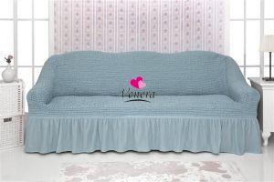 Чехол на 3х-местный диван с оборкой (1шт.) Голубой