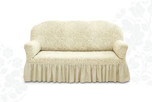 Чехол на трехместный диван Престиж с оборкой ,10027 ваниль
