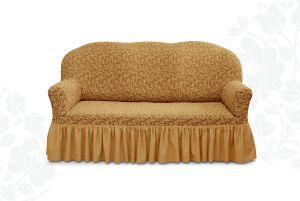 Чехол на трехместный диван Престиж с оборкой ,10034 кофе с молоком