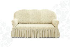 Чехол на трехместный диван Престиж с оборкой ,10054 ваниль