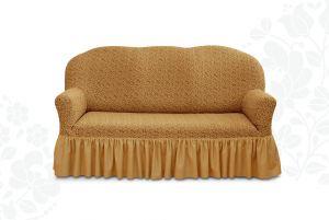 Чехол на трехместный диван Престиж с оборкой ,10054 кофе с молоком