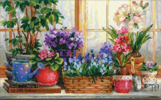 Набор для вышивания крестом Подоконник с цветами № 1669 фирма Риолис