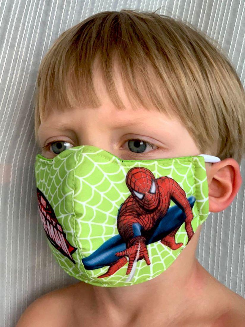 Детские и взрослые трёхслойные маски для мальчиков, Спайдермен (Москва)