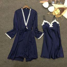 Комплект сорочка с халатиком, шелк, размер 42-46, модель 425