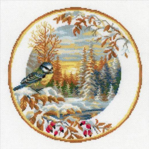 Набор для вышивания крестом Тарелка с синицей №1692 фирма Риолис