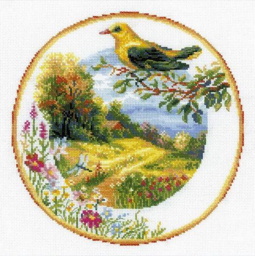 Набор для вышивания крестом Тарелка с иволгой №1693 фирма Риолис