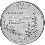 ХАЛЯВА!!! 25 центов США 2005г - Орегон, VF - Серия Штаты и территории