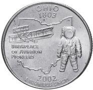 ХАЛЯВА!!! 25 центов США 2002г - Огайо, VF - Серия Штаты и территории