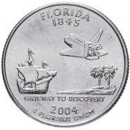ХАЛЯВА!!! 25 центов США 2004г - Флорида, VF - Серия Штаты и территории