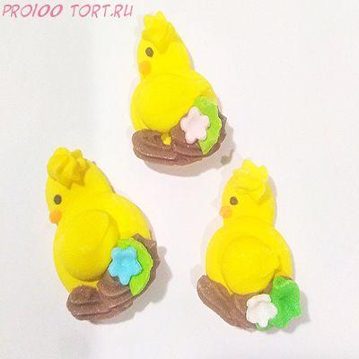 Украшение сахарное Цыплёнок плоский в коричневом гнезде 1 шт/упак