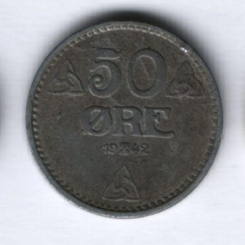 50 эре 1942 года Норвегия Германская оккупация
