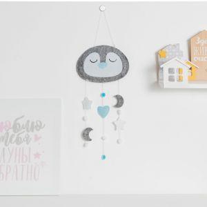 """Текстильный подвес Крошка Я """"Пингвин"""", 41,8*22,7 серый, 100% п/э, фетр   4473342"""