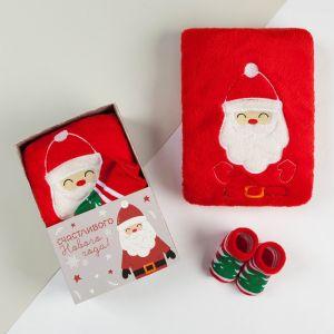 "Набор подарочный ""Дед Мороз"" плед 90х100 см, носки 0-12 мес, велсофт   4555092"