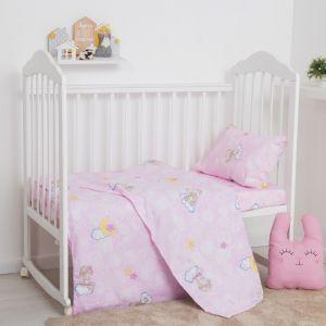 Постельное бельё Экономь и Я бейби «Мишки», цвет розовый, 145х112 см, 100х150 см, 40х60 см, бязь