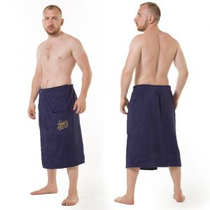 Килт(юбка) мужской махровый, с карманом, 70х150 тёмно-синий