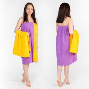 Набор д/сауны махр. жен (Килт(юбка)80х160, полотенце 50х90), цвет сиреневый
