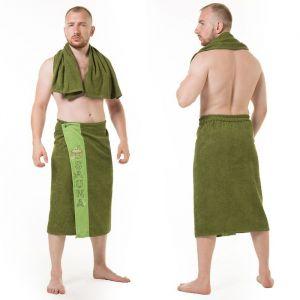 Набор д/сауны махр. муж. (Килт(юбка)(70х160+-2), полотенце 50х90), цвет болотный