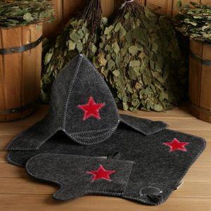 "Набор для бани ""Буденовец"" серый: шапка, коврик, рукавица 1338111"