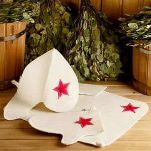 "Набор для бани ""Будёновец"" шапка, коврик, рукавица 1318337"