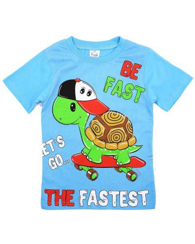 """Футболка для мальчика """"Turtle""""1-4 лет голубая"""