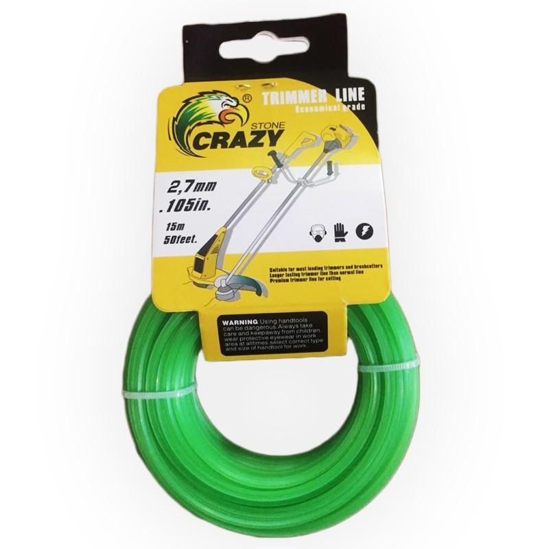 Леска для триммера Crazy Stone диаметр 2.7 мм (цвет зелёный)