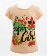 """Футболка для девочек 4-8 лет Bonito kids """"Super Girl"""" персиковая"""