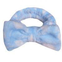 Повязка косметическая для волос с бантом Голубой в горох_2
