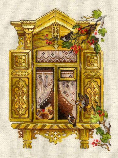 Набор для вышивания крестом Окошко в Воробьево №1731 фирма Риолис