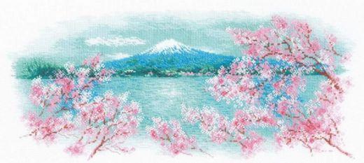 Набор для вышивания крестом Сакура. Фудзи №1744 фирма Риолис