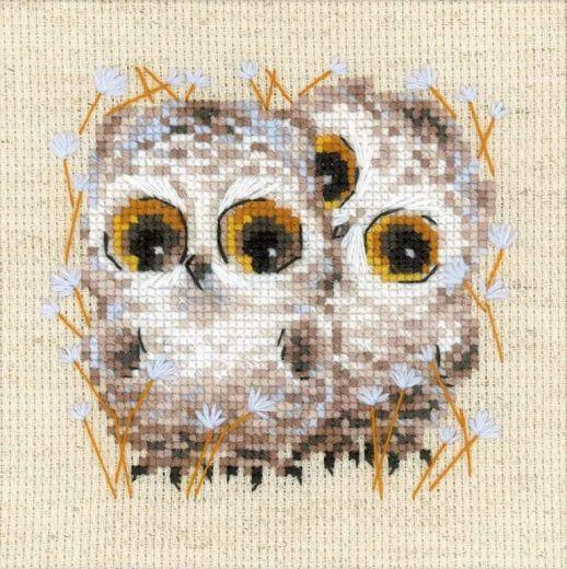 Набор для вышивания крестом Маленькие совята №1755 фирма Риолис