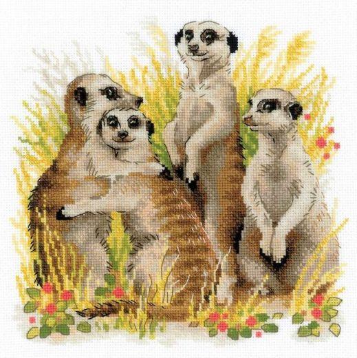 Набор для вышивания крестом Сурикаты №1761 фирма Риолис