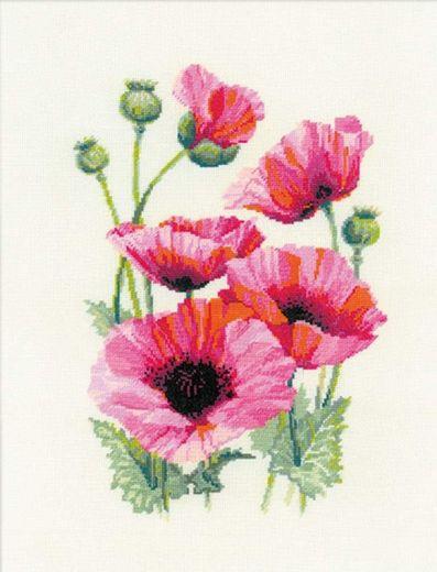 Набор для вышивания крестом Розовые маки №1775 фирма Риолис