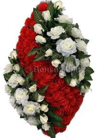 Ритуальный венок из искусственных цветов - Элит #37 красно-белый из роз и гвоздик