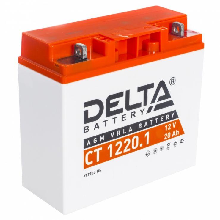 Мото аккумулятор АКБ Delta (Дельта) CT 1220.1 20Ач о.п. YT19BL-BS