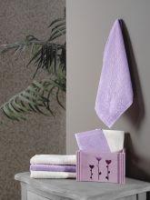 """Комплект  махровых салфеток """"KARNA"""" FLORI 30x30 - 6 шт.(фиолетовый)  Арт.5113-5"""