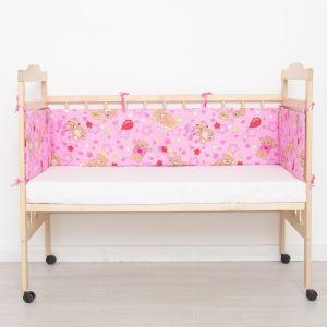 """Бортик """"Медвежата"""", 4 части (2 части: 30*60 см, 2 части: 30*120 см), цвет розовый 542 3602393"""