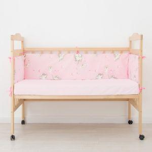 """Бортик """"Слонята"""", 4 части (2 части: 30*60 см, 2 части: 30*120 см), цвет розовый 542. 4026406"""