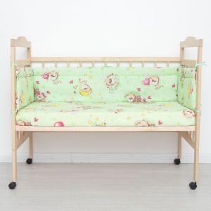 """Бортик защитный """"Малышок"""", размер 30х360, цвет зеленый, бязь хл100%   4301168"""