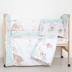"""Комплект в кроватку (6 предметов) """"Любящие птенчики"""", цвет мята, бязь, хл100%   4351753"""
