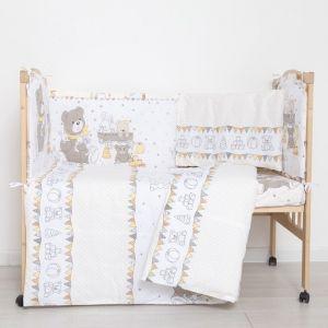 """Комплект в кроватку (6 предметов) """"Мишки и зайки"""", цвет бежевый, бязь, хл100%   4351754"""