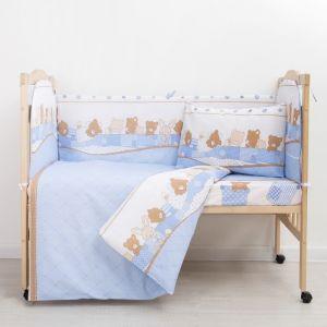 """Комплект в кроватку (6 предметов) """"Спящие зверушки"""", бязь, хл100%   4194235"""