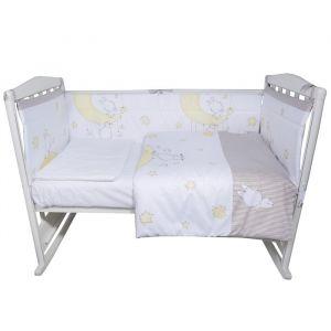 Комплект в кроватку «Лунные качели», 4 предмета , цвет кофе, сатин