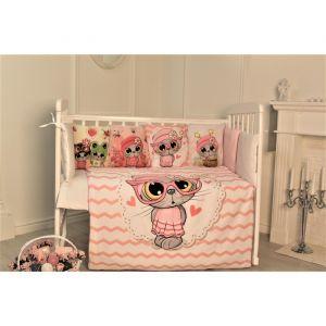 Комплект в кроватку Киски, цвет розовый, 6 предметов,перкаль, хл100%   4644761