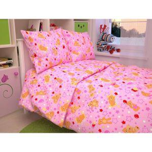 """Детское постельное бельё BABY """"Мишки"""", цвет розовый 112х147 см, 110х150 см, 60х60 см, бязь 142 гр/м"""
